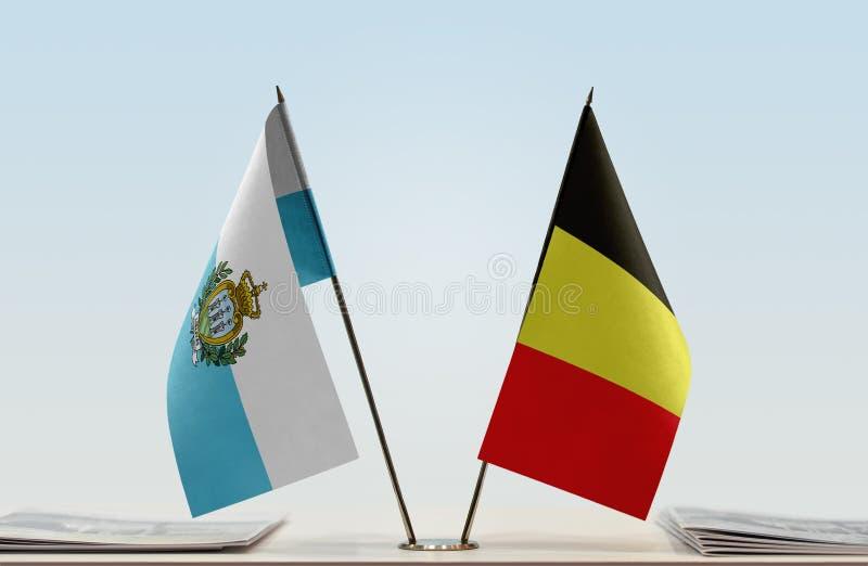 Flaga San Marino i Belgia zdjęcie stock
