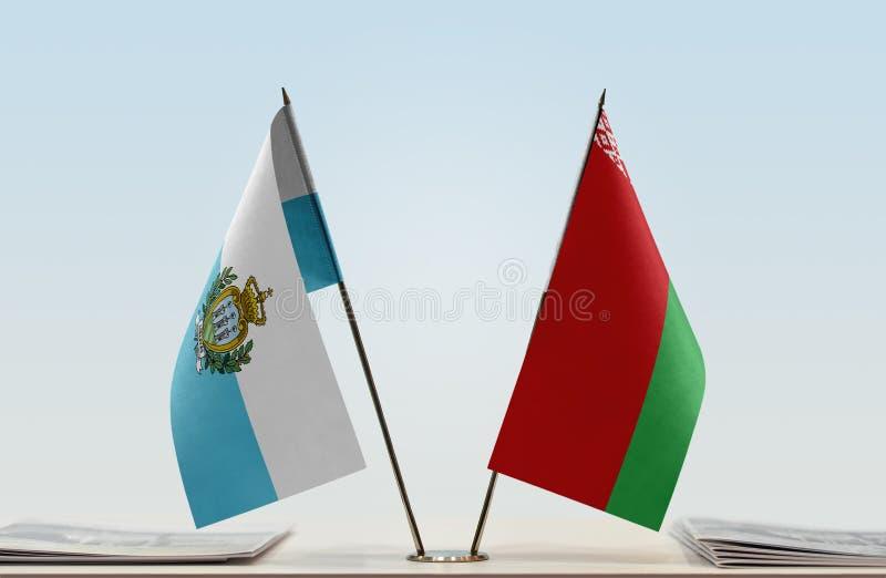 Flaga San Marino i Białoruś obrazy royalty free