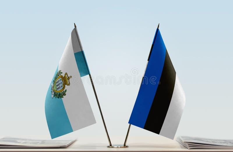 Flaga San Marino i Estonia obrazy royalty free