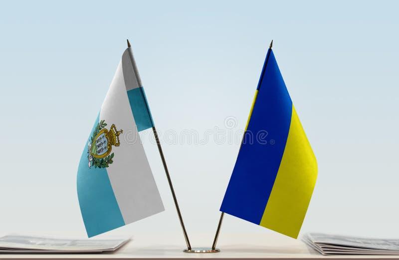 Flaga San Marino i Ukraina zdjęcia royalty free