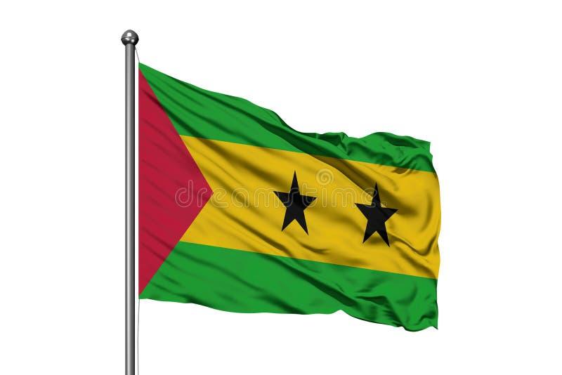 Flaga Sao Principe i woluminu falowanie w wiatrze, odosobniony biały tło obraz stock