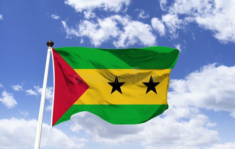 Flaga Sao wolumin i Principe, gwiazdy dwa wyspy obraz stock