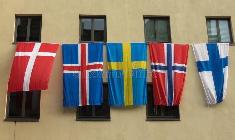 Flaga Scadinavia unosić się zdjęcie stock