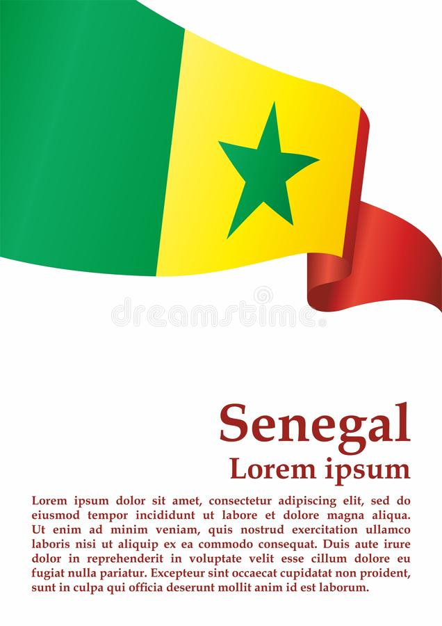 Flaga Senegal, republika Senegal Szablon dla nagroda projekta, urzędowy dokument z flagą Senegal ilustracja wektor