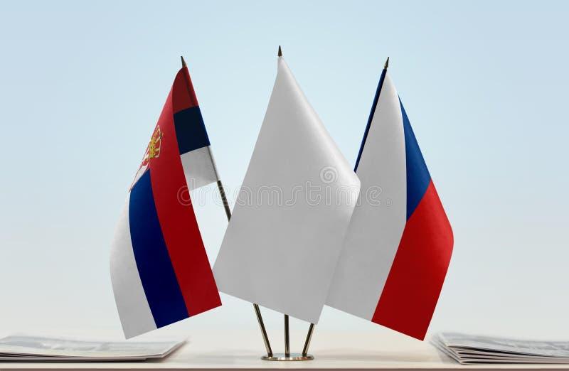 Flaga Serbia i republika czech obraz stock
