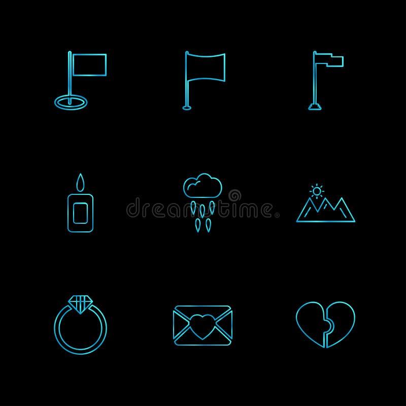 flaga, serca, kamera, pupil, flaga, eps ikony ustawiają vecto royalty ilustracja