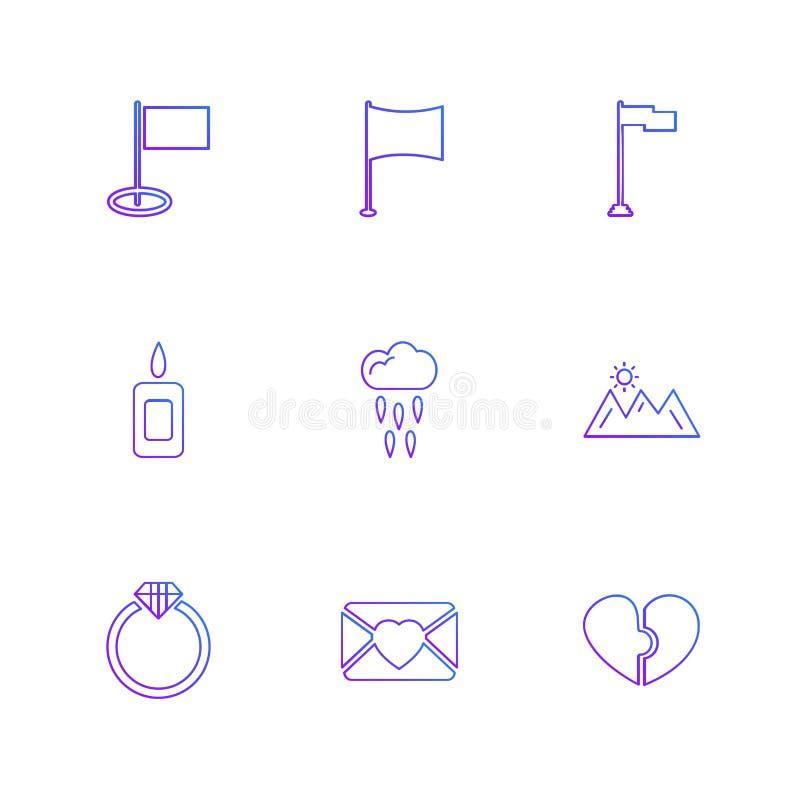 flaga, serca, kamera, pupil, flaga, eps ikony ustawiają vecto ilustracji
