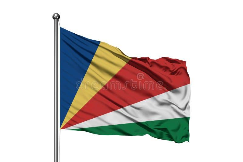 Flaga Seychelles macha w wiatrze, odosobniony biały tło Seychellois flaga zdjęcie stock