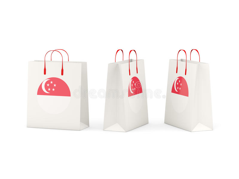 Flaga Singapore na torba na zakupy ilustracji