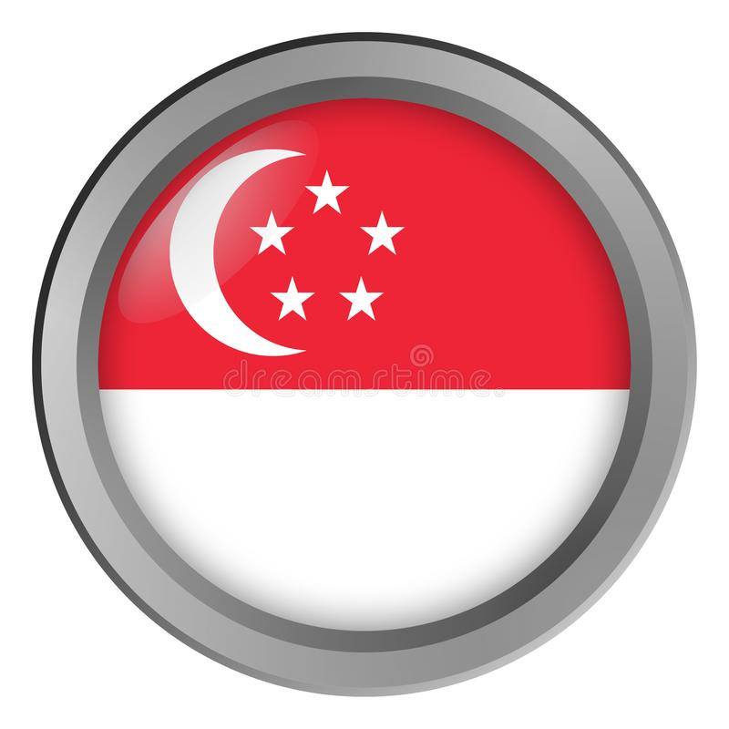 Flaga Singapur round jako guzik royalty ilustracja