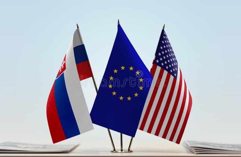 Flaga Sistani UE i usa zdjęcie royalty free