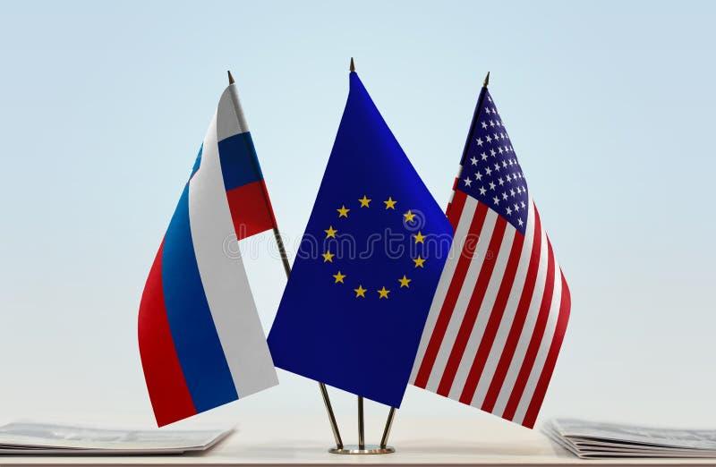 Flaga Slovenia UE i usa obraz royalty free