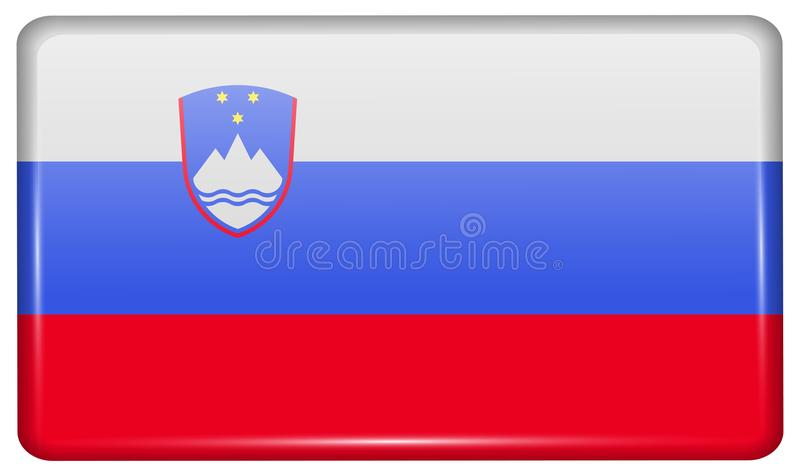 Flaga Slovenia w postaci magnesu na chłodziarce z odbiciami zaświecają obrazy royalty free