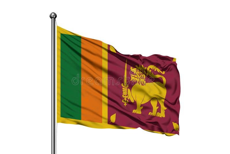 Flaga Sri Lanka falowanie w wiatrze, odosobniony biały tło chor?gwiany lankan sri obraz royalty free
