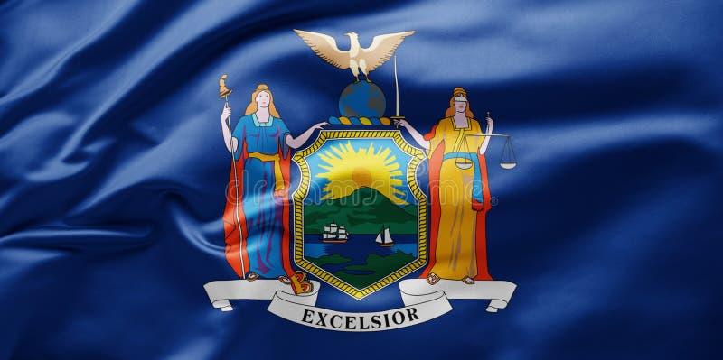 Flaga stanowa falująca Nowy Jork - Stany Zjednoczone Ameryki obraz stock