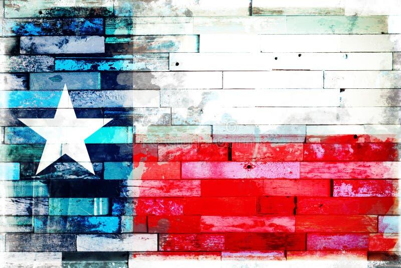 Flaga stanowa Teksasu na tle drewnianych desek malowanych obraz royalty free