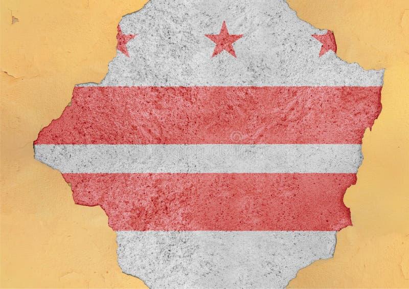 Flaga stanu usa dystrykt kolumbii w dużym łamającym materiale ilustracja wektor