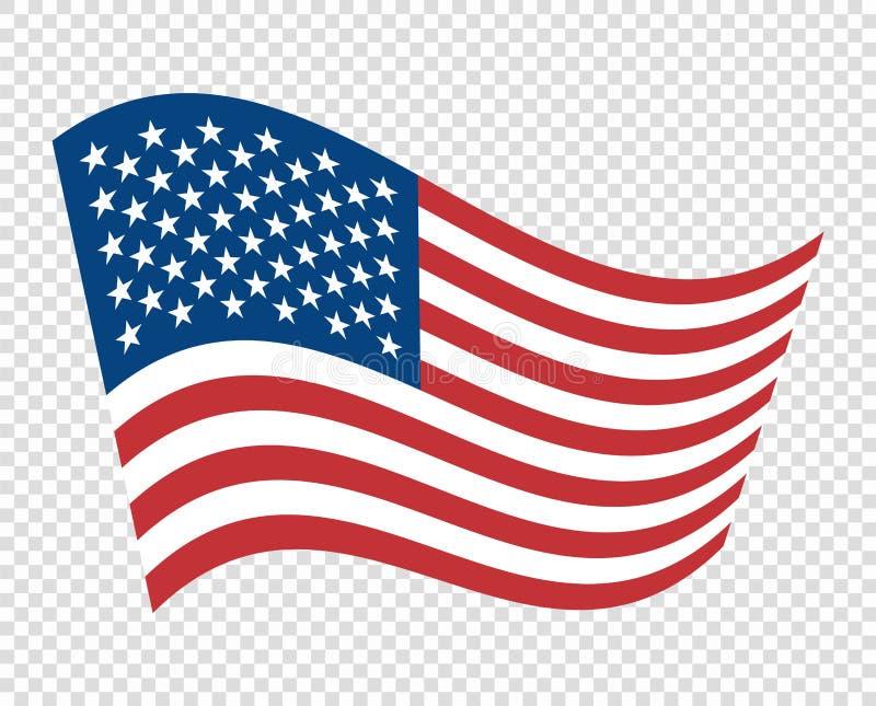 Flaga Stany Zjednoczone Ameryka barwi Wektor fala, barwi my chorągwiani Błękit, czerwień, biała Przedmiota odosobniony tło ilustracji