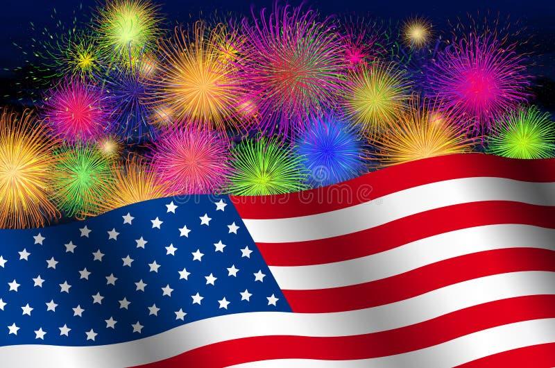 Flaga Stany Zjednoczone Ameryka na tle nocne niebo z fajerwerkami ilustracji