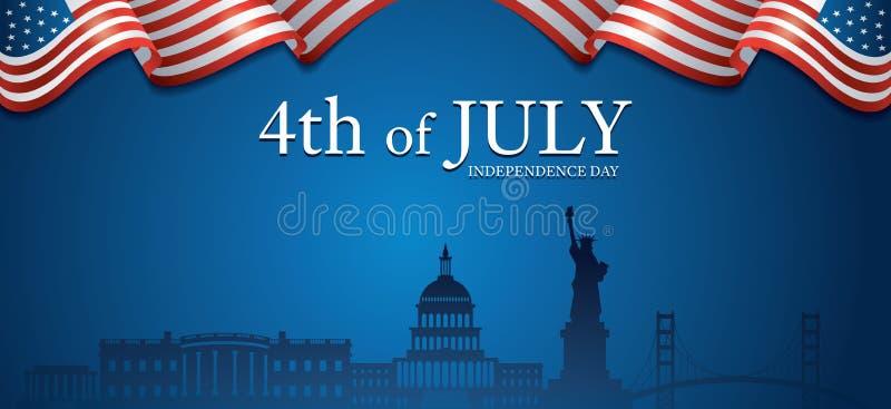 Flaga Stany Zjednoczone Ameryka 4th Lipiec, punktu zwrotnego t?o royalty ilustracja
