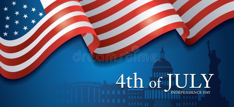 Flaga Stany Zjednoczone Ameryka 4th Lipiec, punktu zwrotnego t?o ilustracja wektor