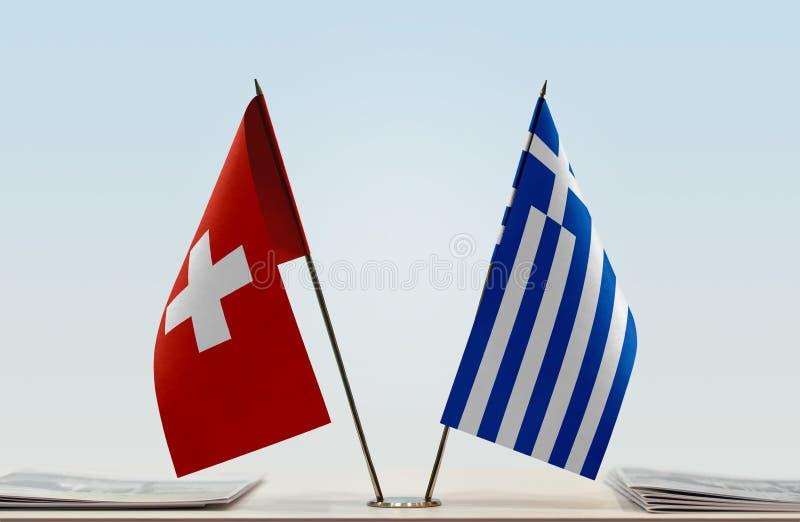 Flaga Szwajcaria i Grecja fotografia stock