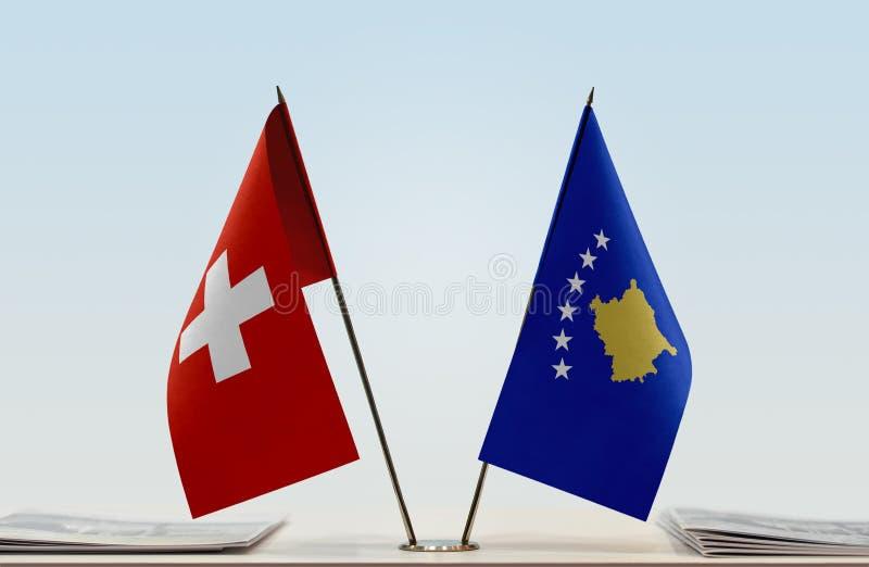 Flaga Szwajcaria i Kosowo obrazy stock