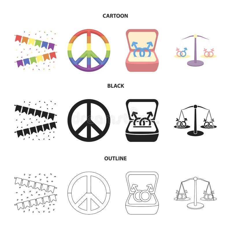 Flaga, tęcza, emblemat, dzwonią Homoseksualista ustalone inkasowe ikony w kreskówce, czerń, konturu symbolu zapasu stylowa wektor ilustracja wektor