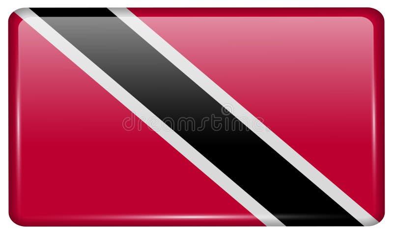 Flaga Trinidad i Toba w postaci magnesu na chłodziarce z odbiciami zaświecają obrazy stock