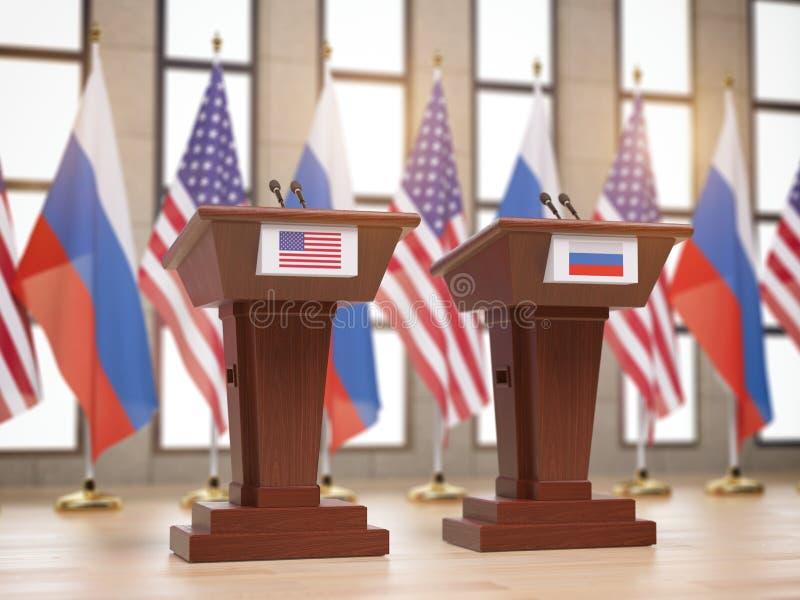 Flaga, trybuny przy międzynarodowym meetin i royalty ilustracja