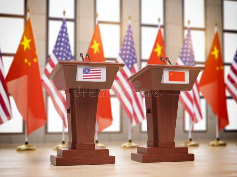 Flaga, trybuny przy międzynarodowym spotkaniem i royalty ilustracja