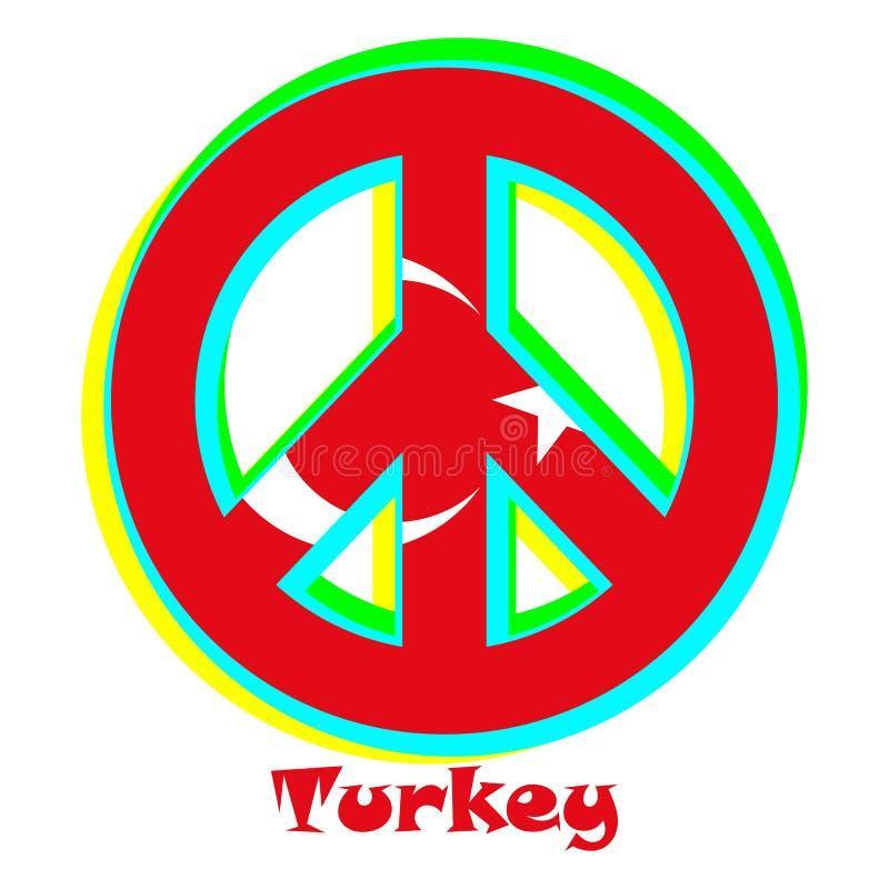 Flaga Turcja jako znak pacyfizm ilustracji