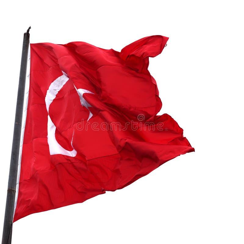 Flaga Turcja na flagpole falowaniu w wiatrze zdjęcie royalty free