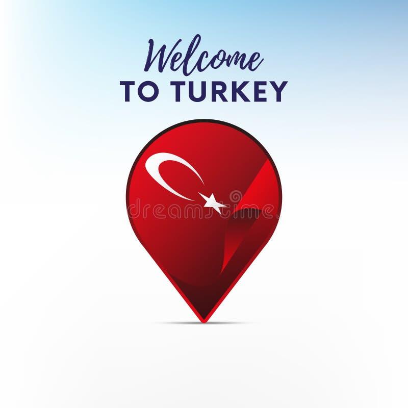 Flaga Turcja w kształcie mapa markier lub pointer Powitanie Turcja wektor ilustracja wektor