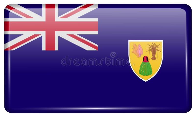 Flaga turczynki i Caicos w postaci magnesu na chłodziarce z odbiciami zaświecają obraz royalty free