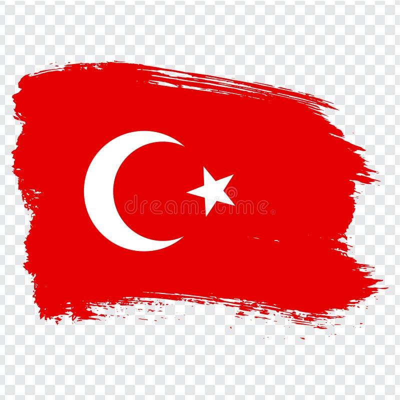Flaga Turecka republika, szczotkarski uderzenia tło Flaga turecczyzna na przejrzystym tle ilustracja wektor