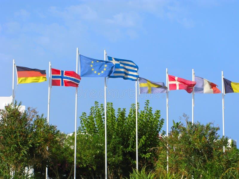 Flaga UE, Grecja, Niemcy, Norwegia, Szwecja, Dani, Francja zdjęcie stock
