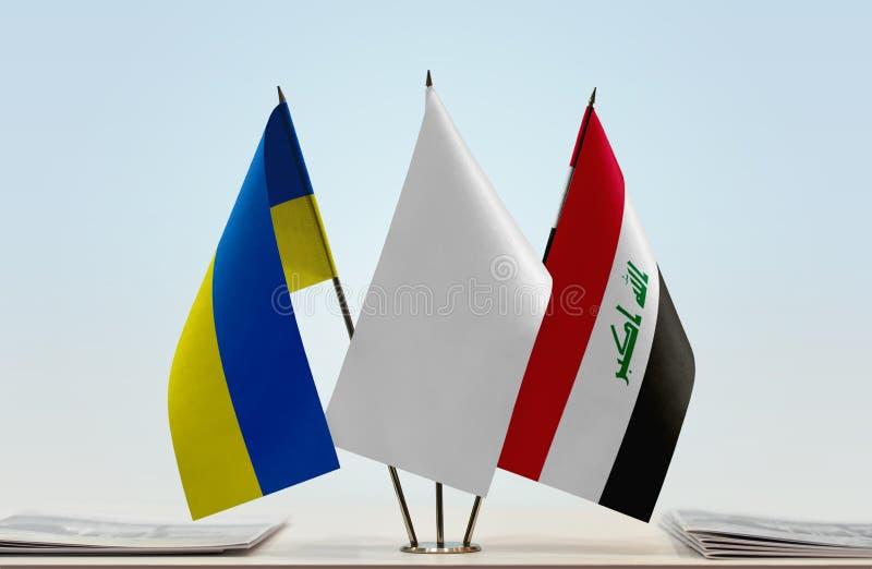 Flaga Ukraina i Irak obraz stock