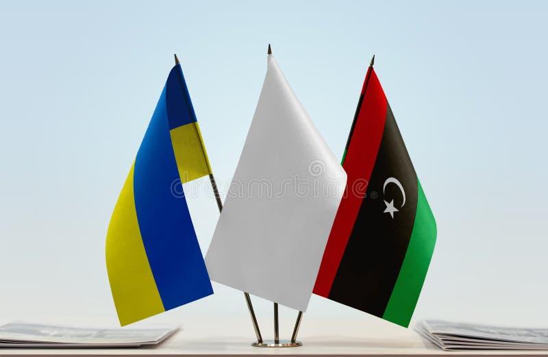 Flaga Ukraina i Libia obraz royalty free