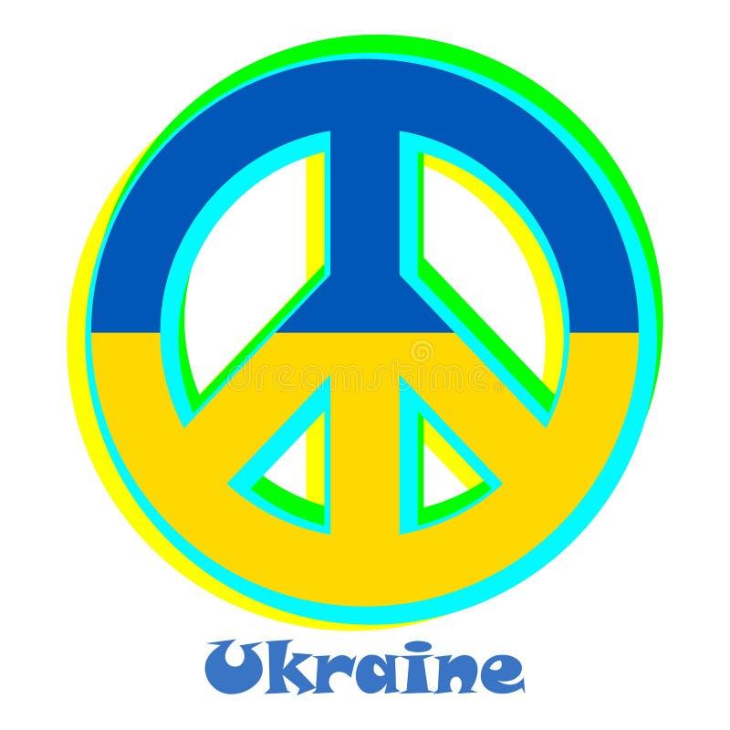 Flaga Ukraina jako znak pacyfizm royalty ilustracja