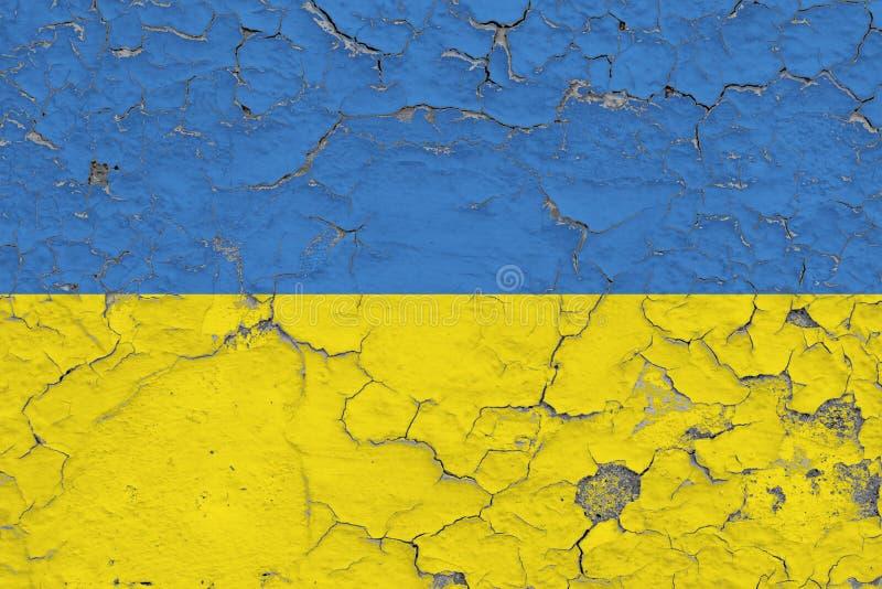 Flaga Ukraina malowa? na krakingowym brudzi ?cian? Obywatela wz?r na rocznika stylu powierzchni royalty ilustracja