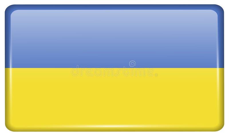 Flaga Ukraina w postaci magnesu na chłodziarce z odbiciami zaświecają zdjęcia royalty free
