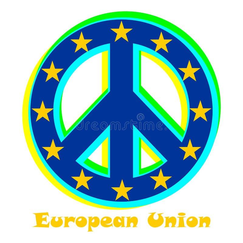Flaga unia europejska jako znak pacyfizm ilustracja wektor