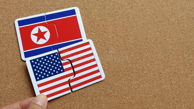 Flaga usa i Północny Korea obrazy royalty free