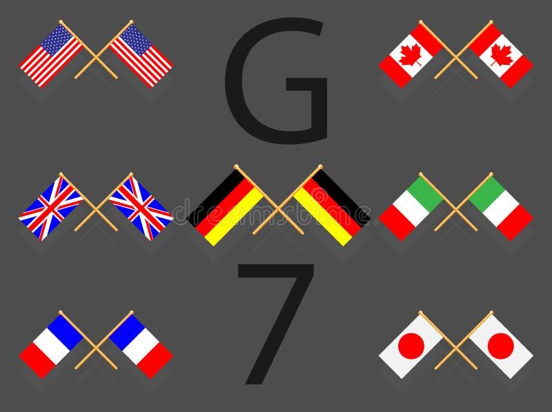 Flaga ustalony g7 ilustracja wektor