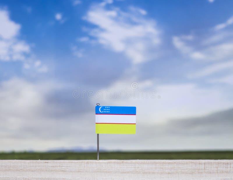 Flaga Uzbekistan z szeroką łąką i niebieskim niebem za nim obraz stock