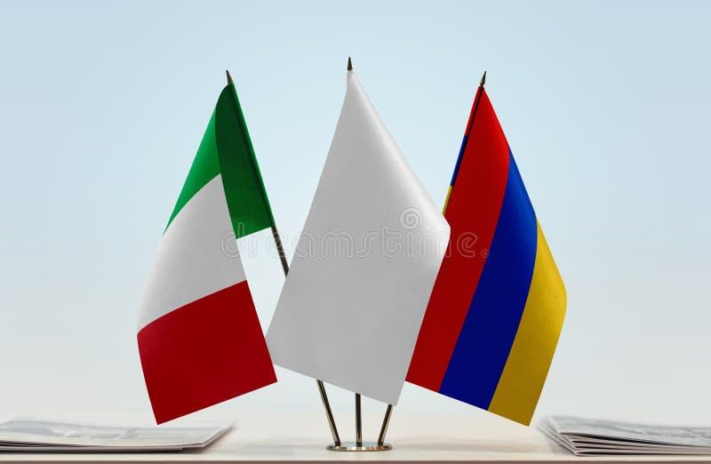 Flaga Włochy i Armenia fotografia royalty free