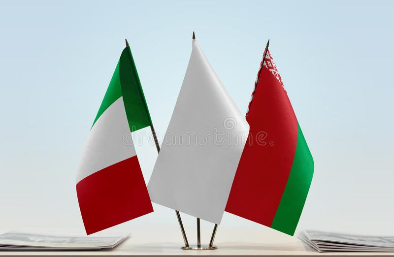 Flaga Włochy i Białoruś zdjęcie royalty free