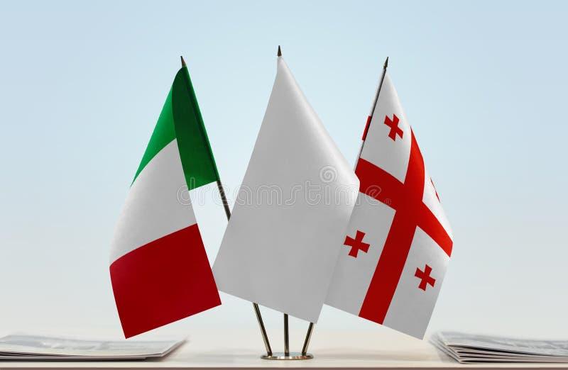 Flaga Włochy i Gruzja obraz royalty free