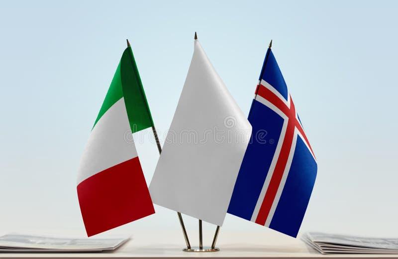 Flaga Włochy i Iceland obraz royalty free